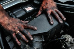 dirty, mechanic, hands, human, reparing, work