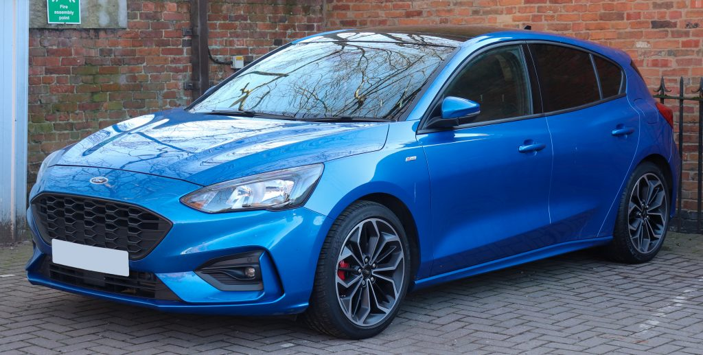 Latest model of the Ford Focus in Electric Blue